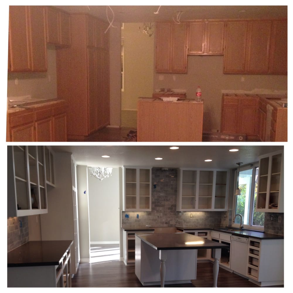 Refinishing Laminate Kitchen Cabinets: Before And After Kitchen: Paint- Recessed Lights- Cabinets