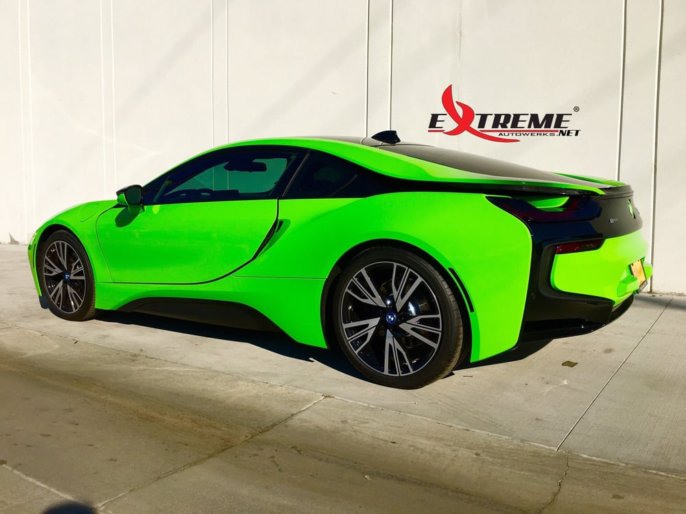 2016 Bmw I8 Gloss Green Vinyl Wrap Custom Bmw Roundels And Vinyl
