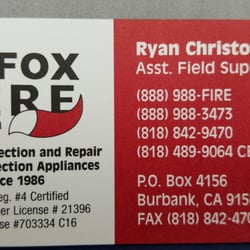 Fox fire protection fire protection services burbank burbank photo of fox fire protection burbank ca united states business card reheart Image collections