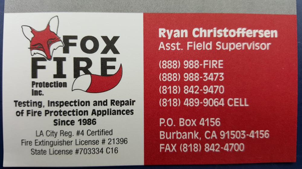 Business card burbank firesafety yelp photo of fox fire protection burbank ca united states business card reheart Images
