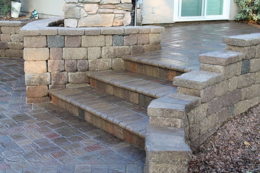 LR Landscaping Paver Patio Steps And Retaining Walls Yelp - Paver patio steps