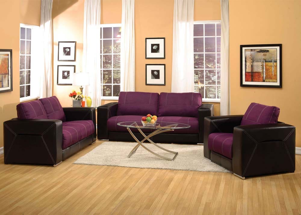 Modern Purple Suede & Black Leatherette Sofa, Loveseat