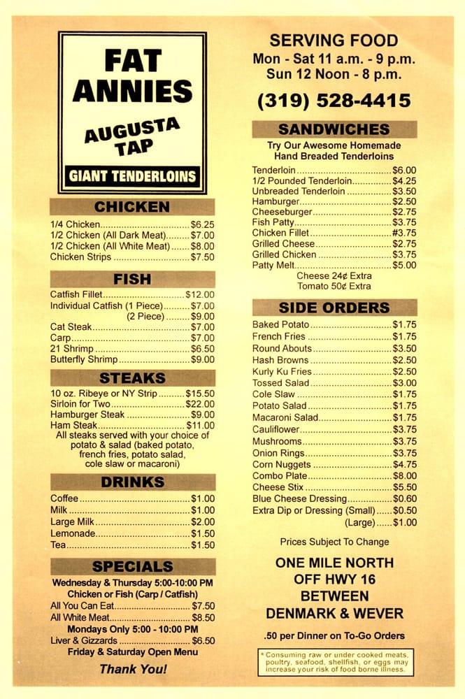 Fat Annie's Augusta Tavern: 5055 Augusta Main Rd, Wever, IA