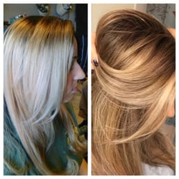 Bleach blonde ombré to full foil high and low lights to ...
