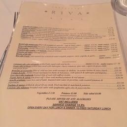 Riva Restaurant Barnes Menu