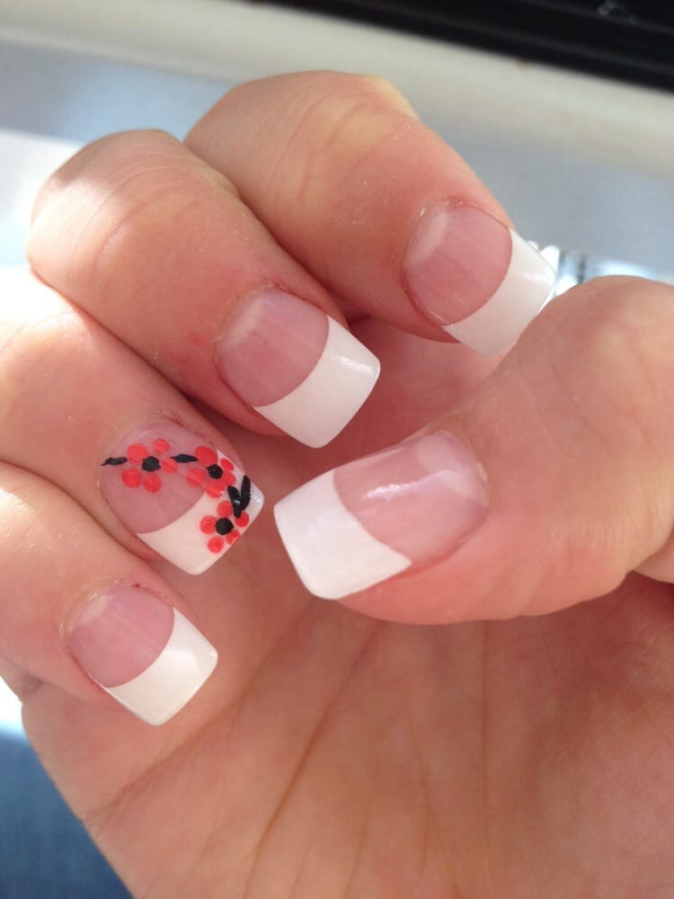 Acrylic full set, French tip with flower design - Yelp