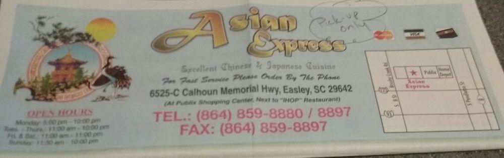 Asian Express: 6525-C Calhoun Memorial Hwy, Easley, SC