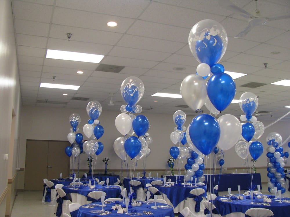 Wedding Decor 7 Piece Deluxe Centerpiece In Pearl Sapphire Blue