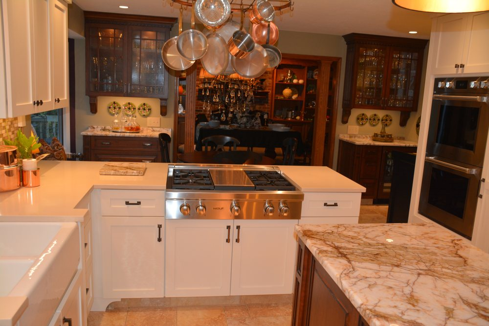 White Painted Shaker Cabinets, Cherry Wet Bar And China ...