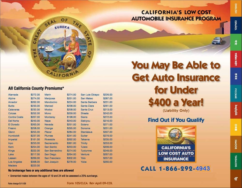 Low Cost Auto Insurance >> California Low Cost Auto Insurance Program Flyer Yelp