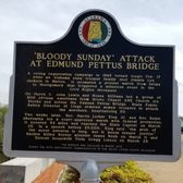 Photo of Edmund Pettus Bridge - Selma, AL, United States. Plaque explaining significance