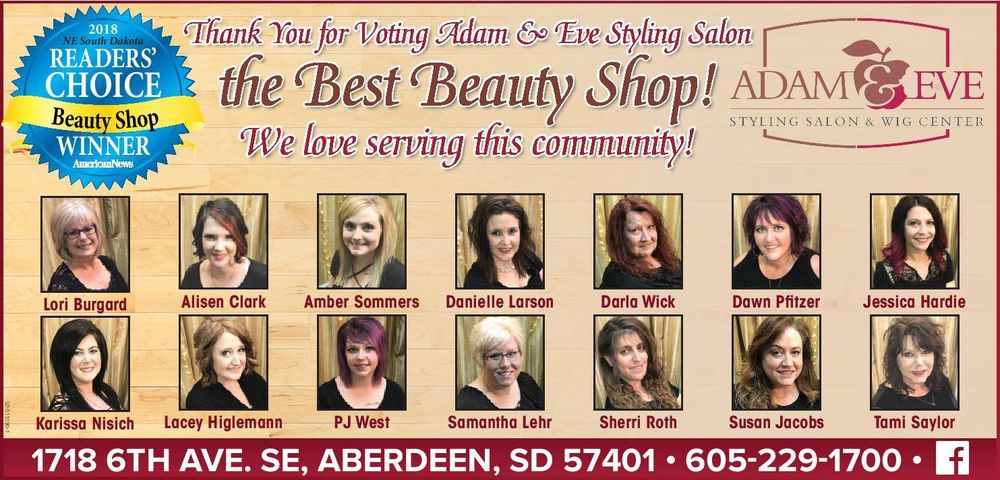 Adam & Eve Styling Salon & Wig Center: 1718 6th Ave SE, Aberdeen, SD