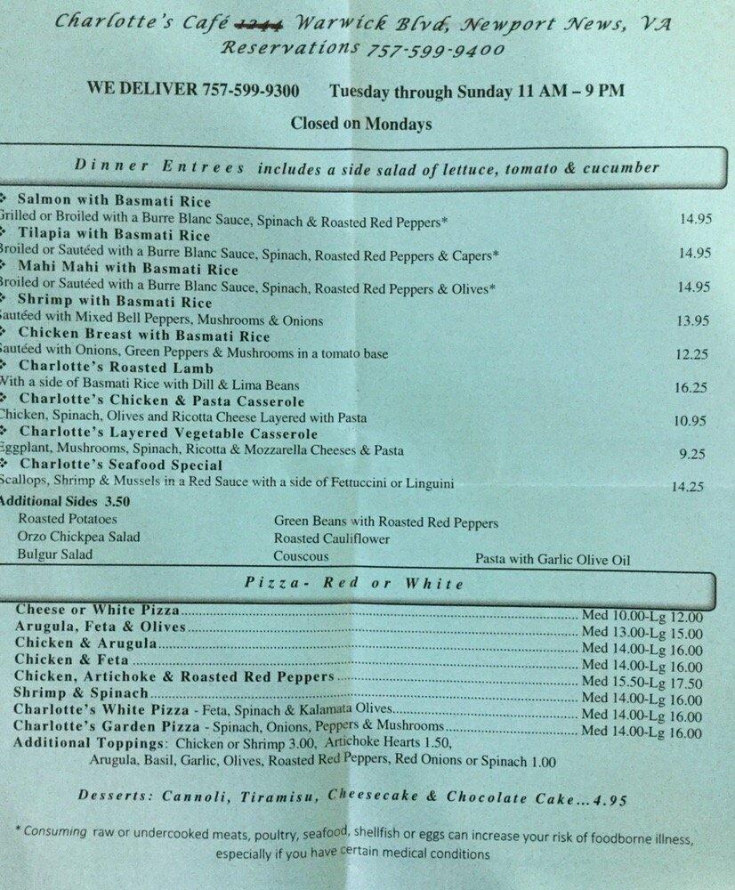 Charlotte\'s Cafe - Mediterranean - 12454 Warwick Blvd, Newport News ...