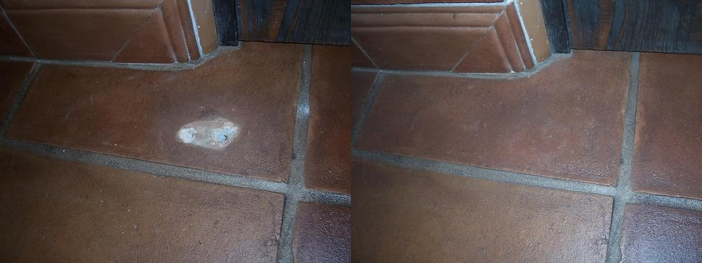 Door-stop removed from tile floor in bathroom. Repaired NOT replaced ...
