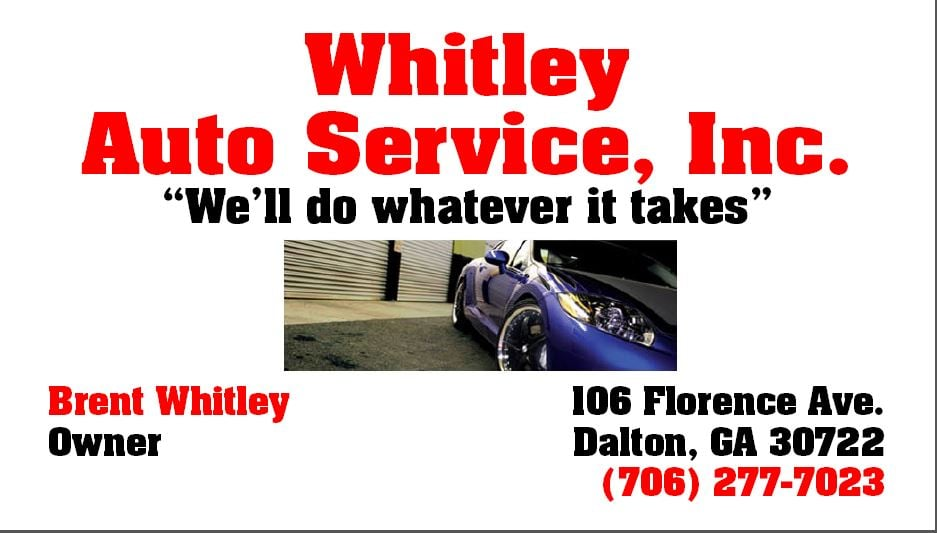 whitley auto service dalton ga united states 106 florence ave phone number yelp. Black Bedroom Furniture Sets. Home Design Ideas