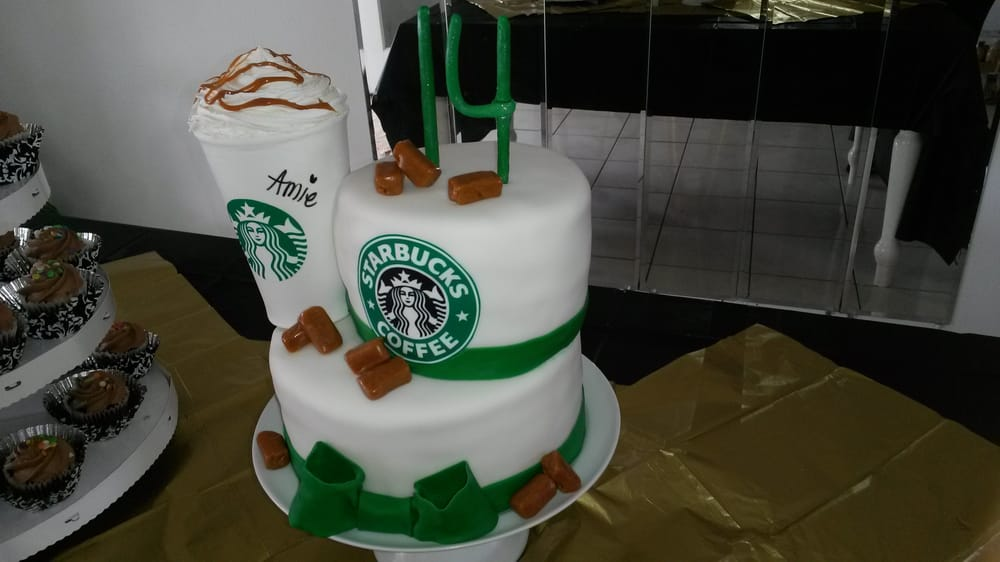 Starbucks themed birthday cake with white cake and fresh