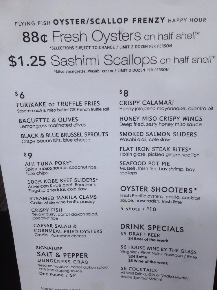 Happy hour menu yelp for Flying fish happy hour