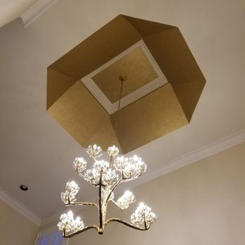 Gold Caulk Wallpaper In A Tray Ceiling 24 Feet Up Yelp