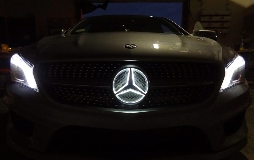 2014 mercedes cla light up emblem yelp for Mercedes benz symbol light