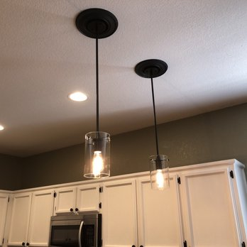 Completed Project - installation of 2 pendant lights above ...
