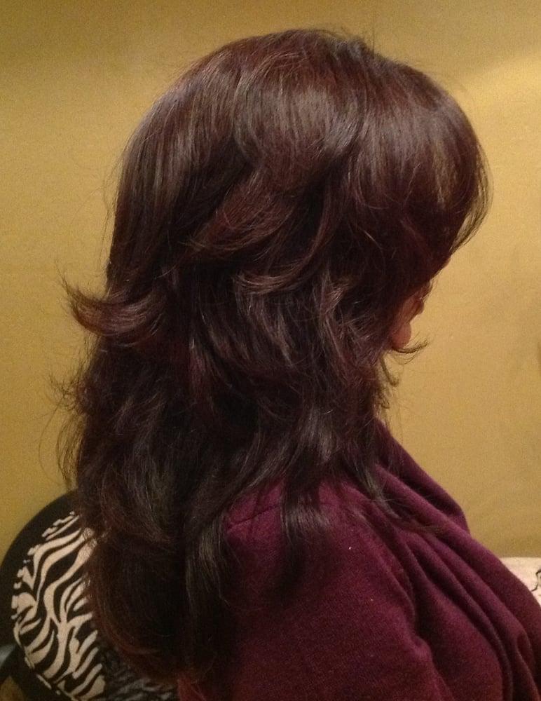 Beautiful Deep Tone Colors Gorgeous Layered Haircut Yelp