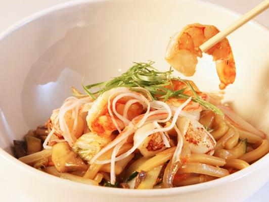 Seafood Udon Noodle Stirfry... Crab, shrimp, scallops ...