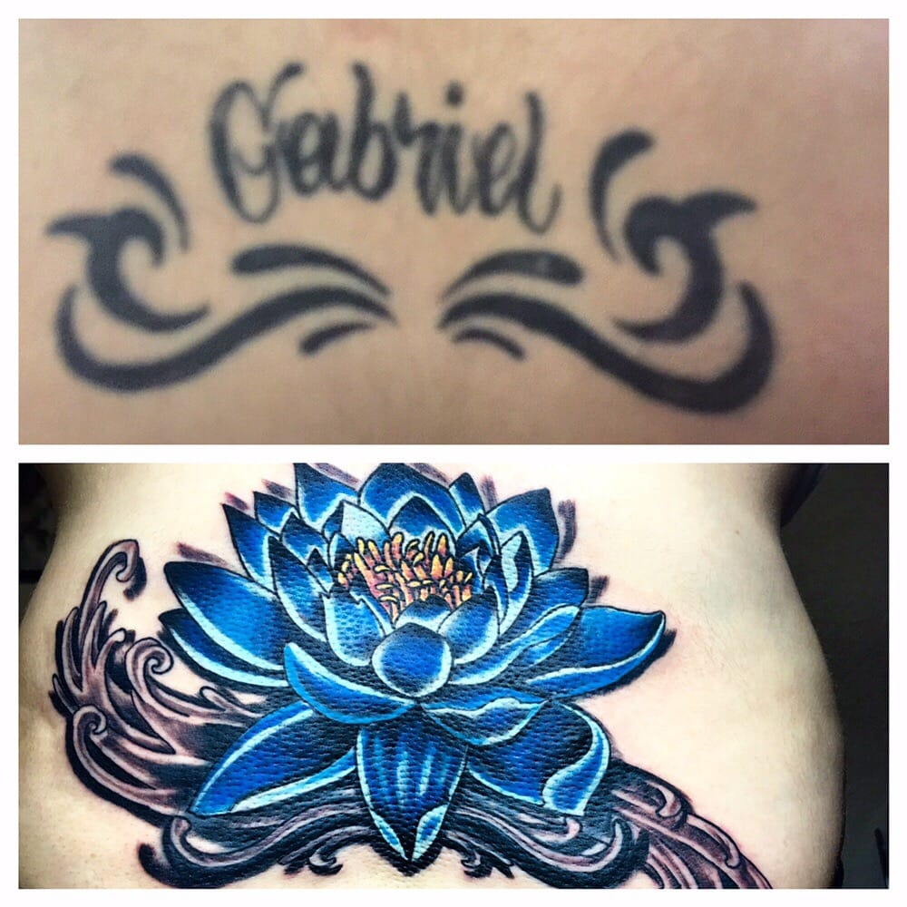 Cover Up Of A Lower Back Tattoo Done By Antonio Andrade Jr At