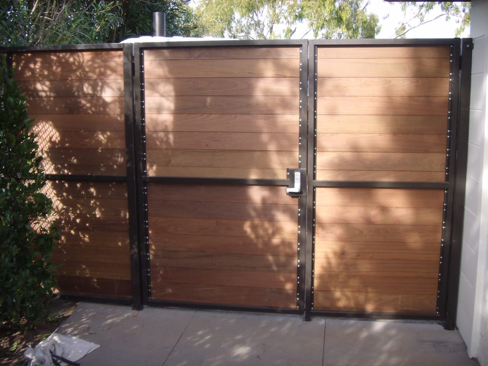 Ipe Wood Gate With Steel Frame And Push Button Combination
