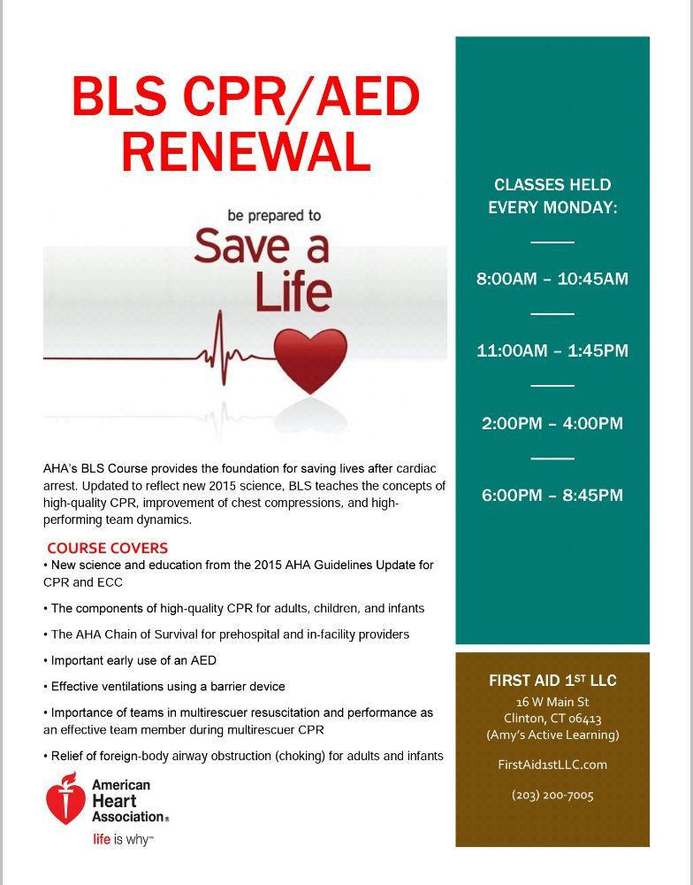First Aid 1st Cpr Classes 16 W Main St Clinton Ct Phone
