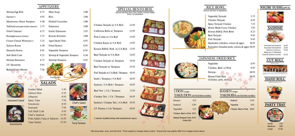 Jf Japanese Cafe Menu