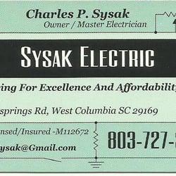 Sysak electric elektrikere 1805 platt springs rd west for Business cards columbia sc
