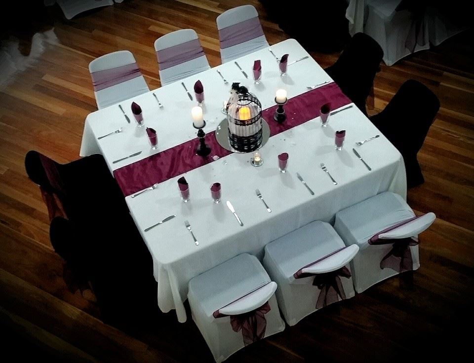 Full Table Setup Including Cutlery Glasses For Wedding Reception
