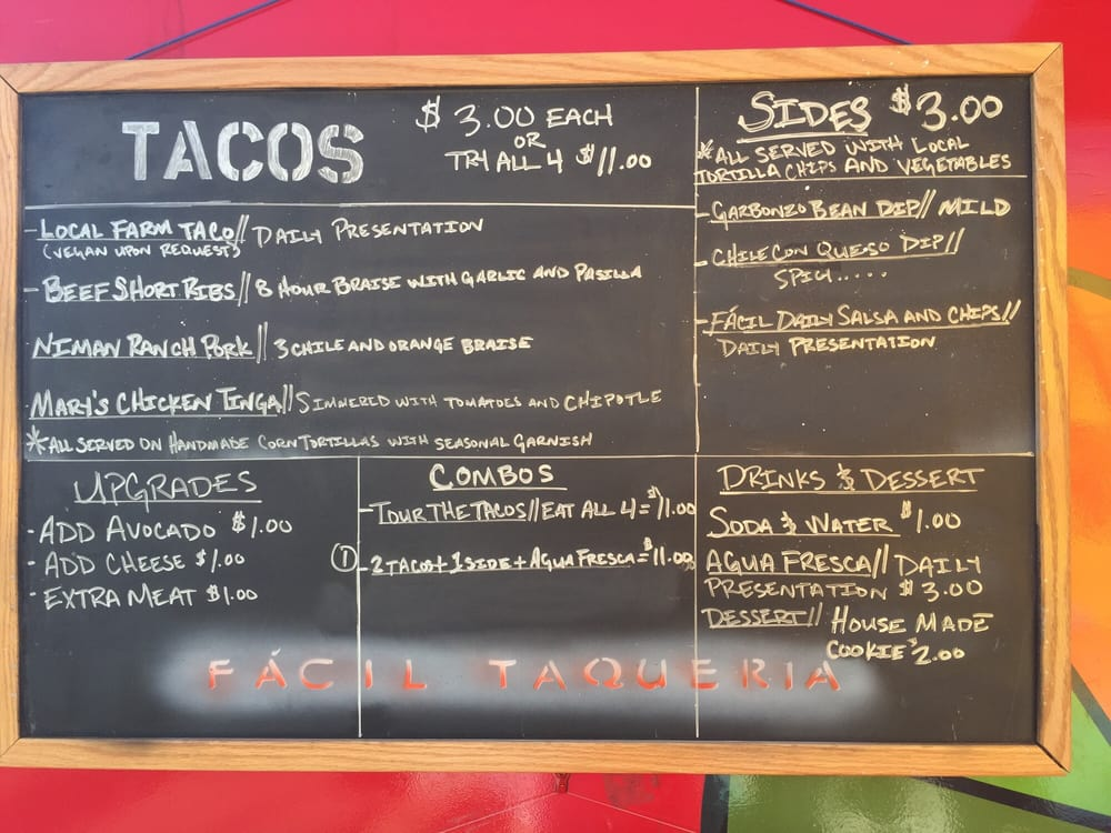 Facil Taqueria Food Truck Menu