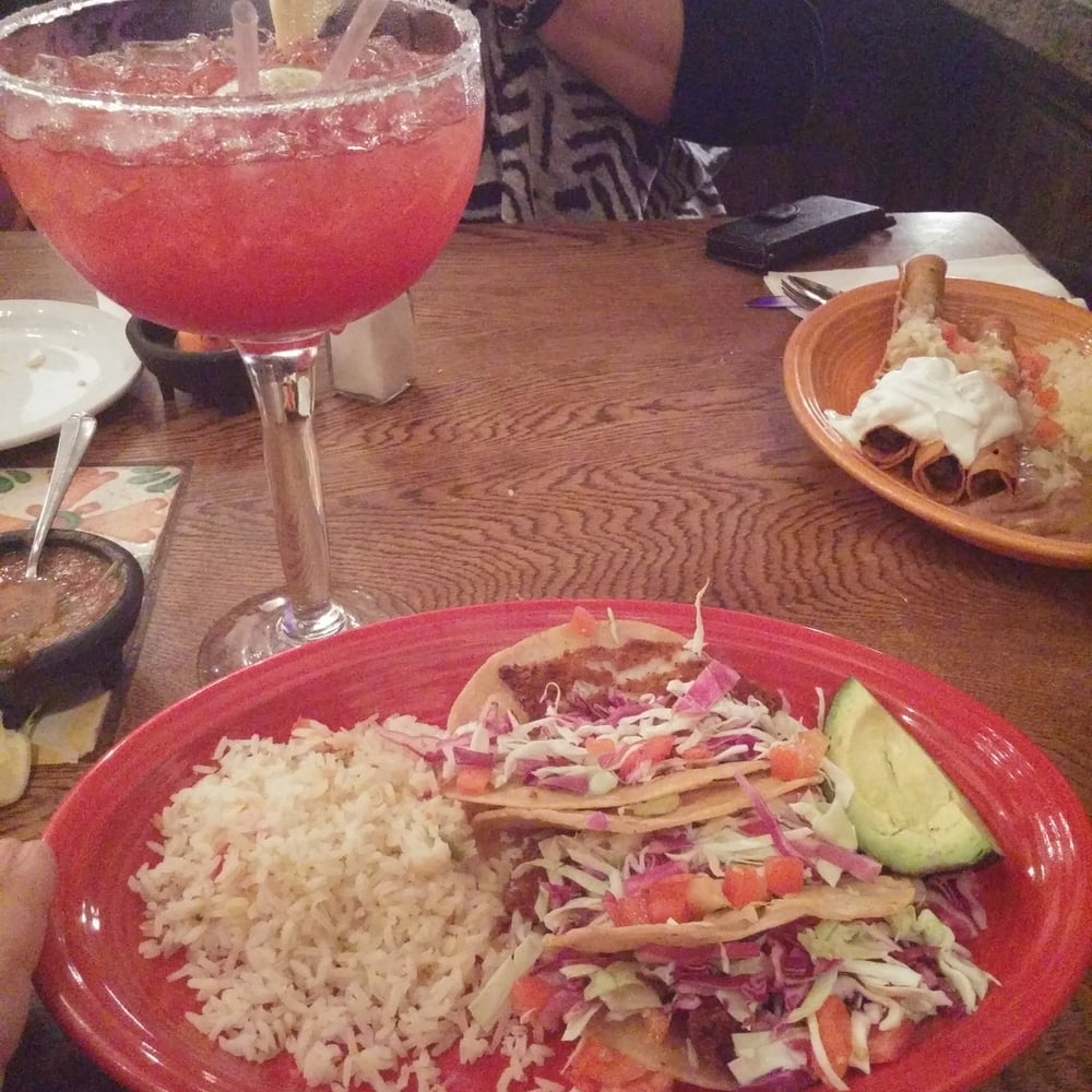 Fish tacos and a delicious Texas Sized Margarita!!! - Yelp