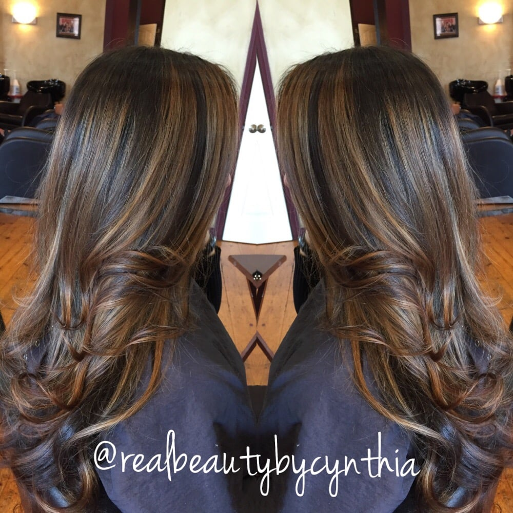 Face Framing Highlights Warm Light Caramel Tone On Dark Brown Hair