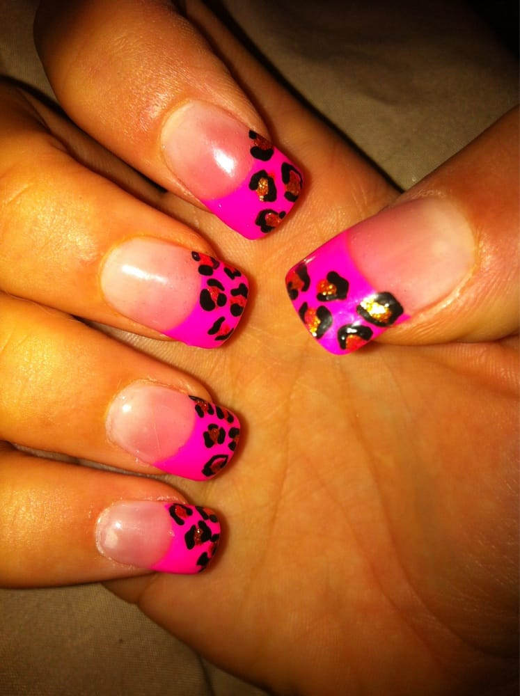 Pink Acrylic Tips With Cheetah Nail Design By Amy Platinum Nails