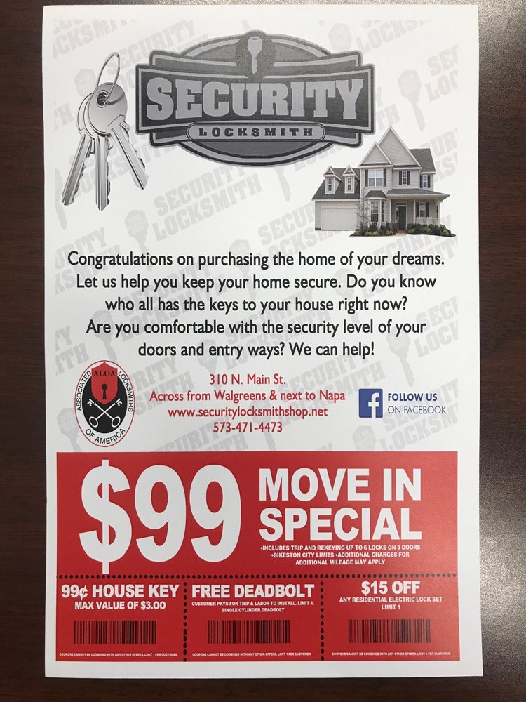 Security Locksmith Shop: 310 North Main, Sikeston, MO