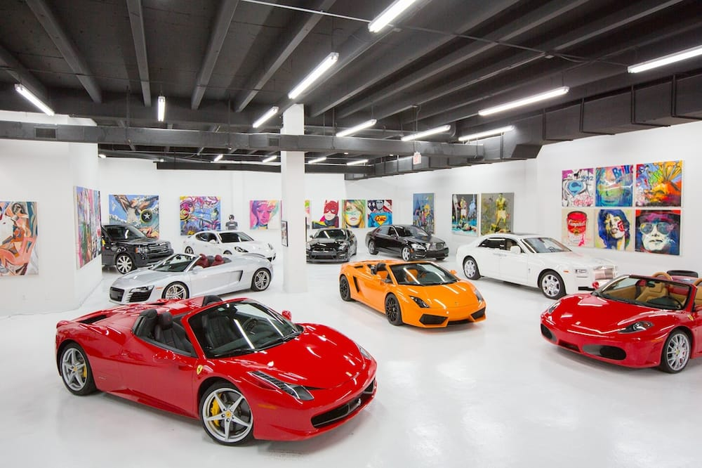 The lou la vie exotic car rental showroom in downtown for Garage la belle auto