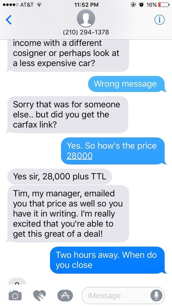 Text Confirming The Price Of The Vehicle Before The Bait