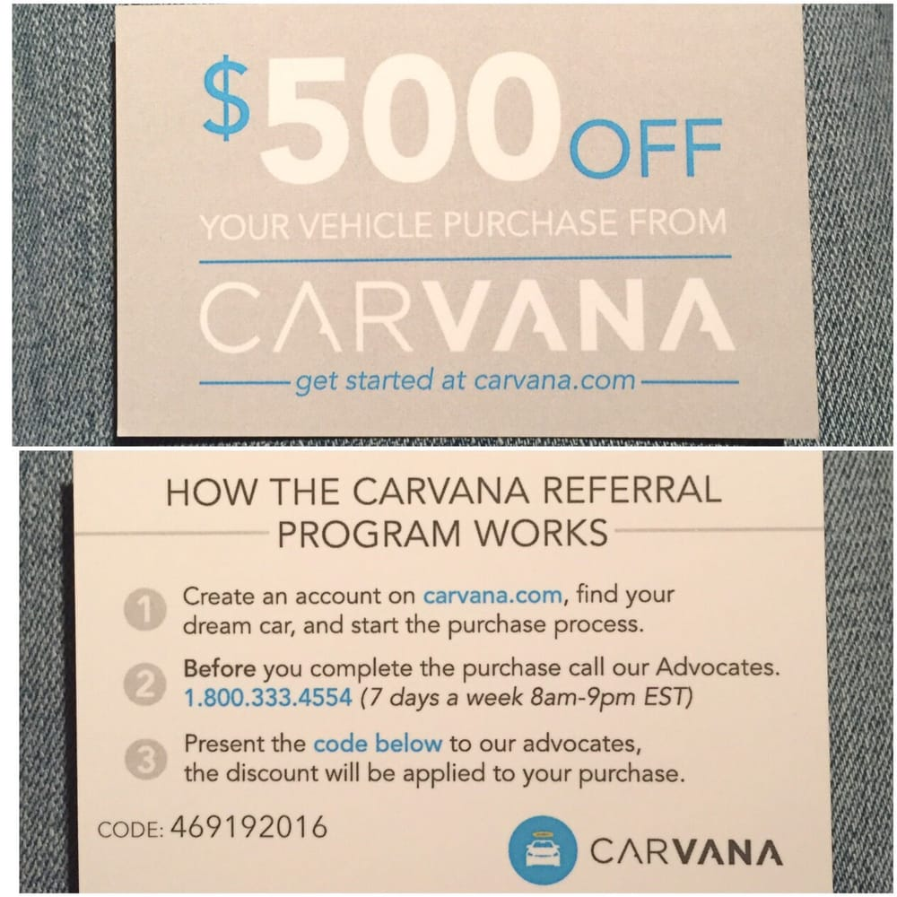Auto Repair Shop Near Me >> Carvana coupon for anyone who would like a discount, from me Naomi Cherry! :) $500 off. - Yelp