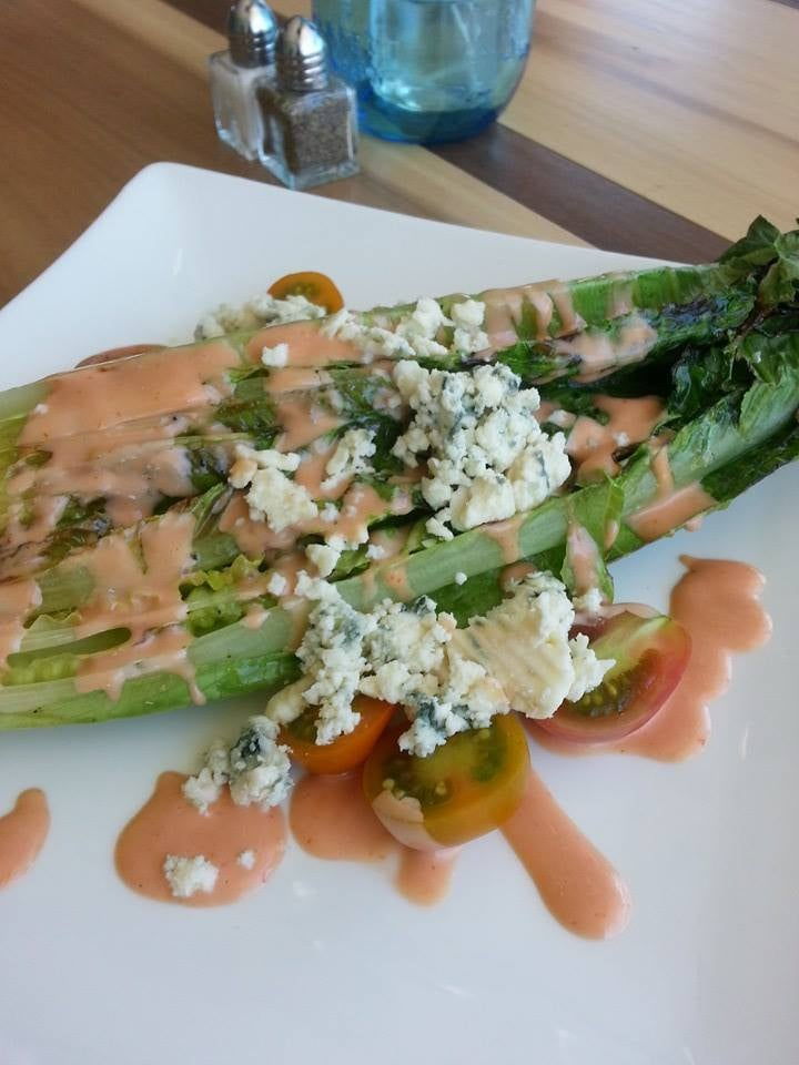 Grilled romaine salad with amish bleu cheese and french for Food bar harrisonburg