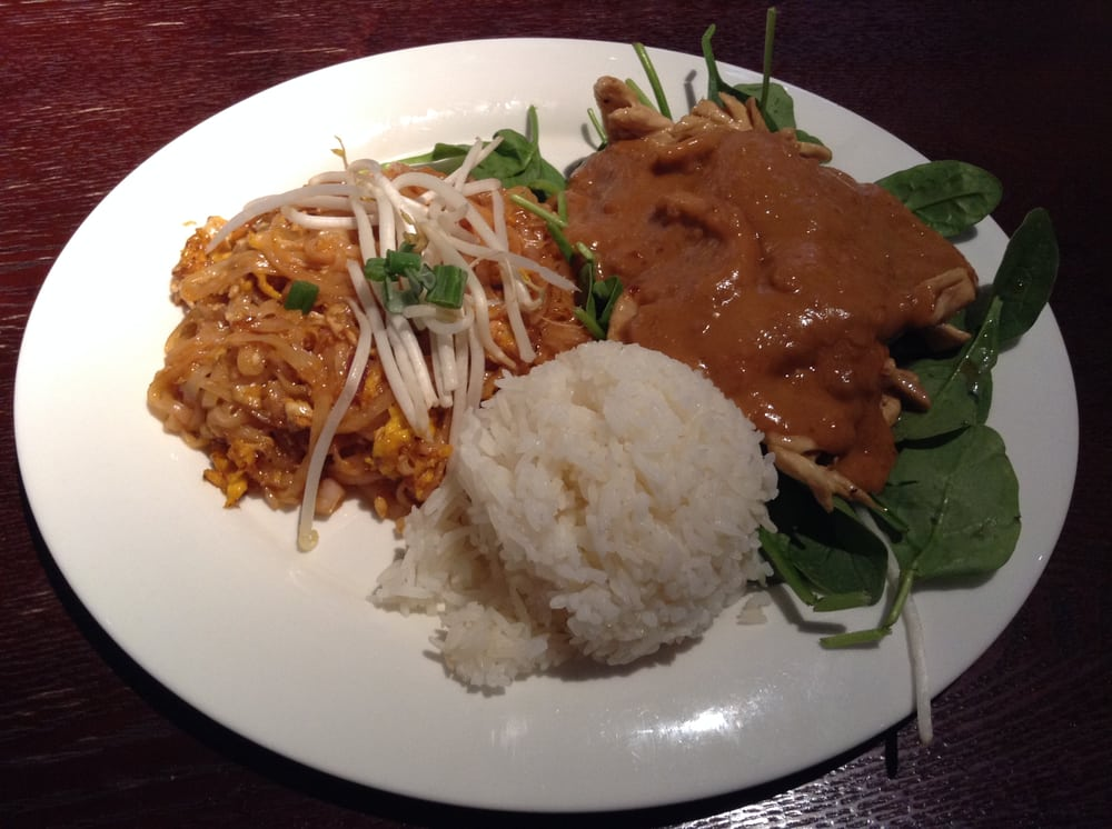 Pud thai jasmine rice and rama chicken with peanut sauce for Areeya thai noodle cuisine menu