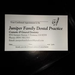 Juniper family dental practice general dentistry 8312 juniper photo of juniper family dental practice fontana ca united states business card reheart Images