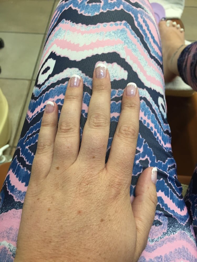 Gel polish French manicure with sparkle - Yelp