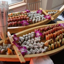 The River Palm Terrace - Edgewater, NJ, United States. Andy's fantastic sushi boats