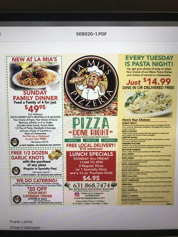 La Mia's Pizzeria: 881 Montauk Hwy, Bayport, NY