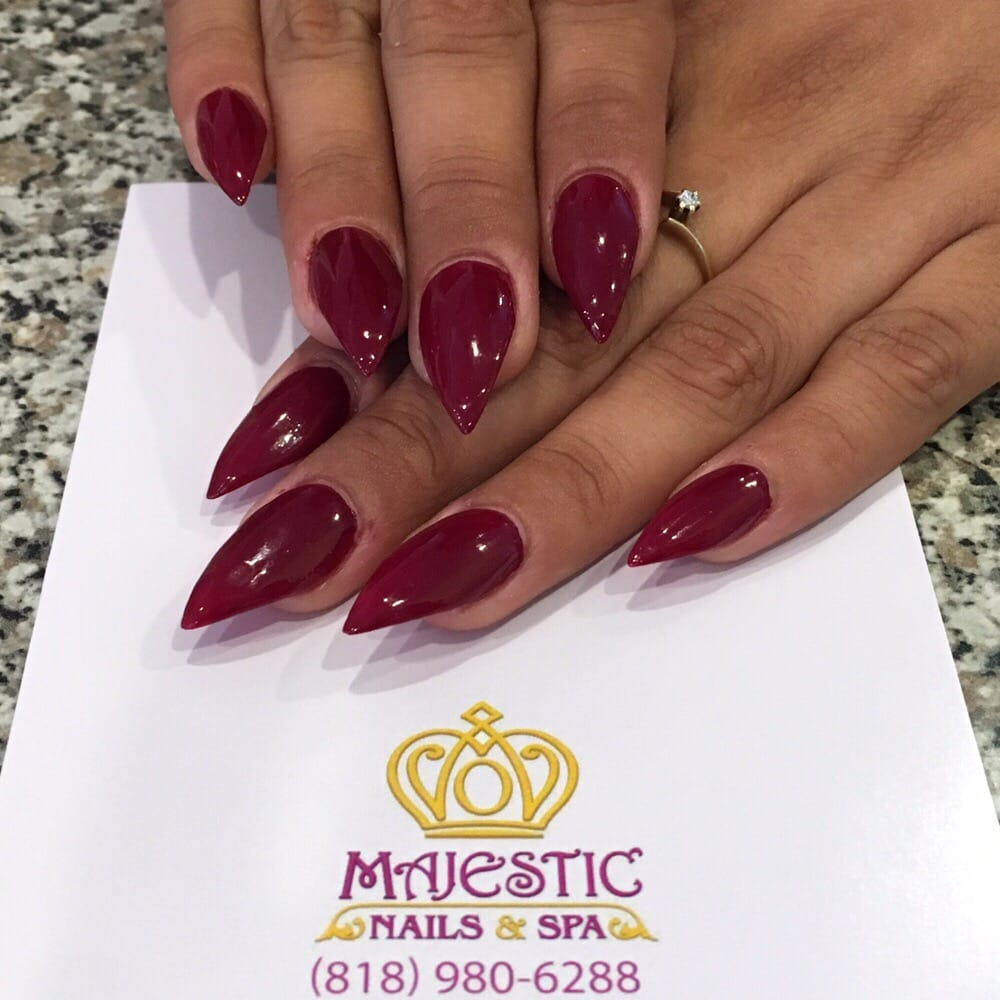 Maroon stiletto acrylic nails - Yelp