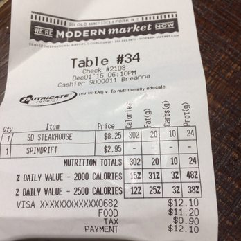 Photo Of Modern Market Denver Co United States My Receipt Shows Nutritional