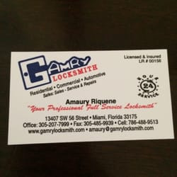Gamry locksmith keys locksmiths 13407 sw 56th st miami fl photo of gamry locksmith miami fl united states business card colourmoves