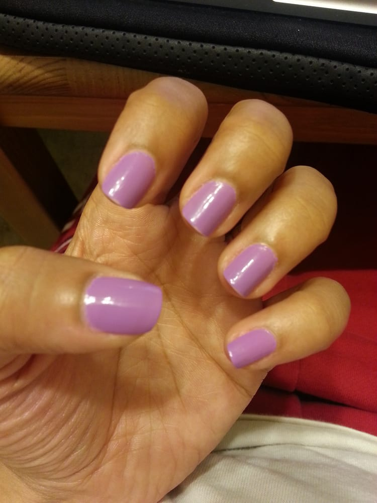 BEFORE, done at Columbia Nails. Notice the very sexy shellac cuticle ...